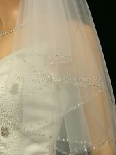 2T Ivory Bridal Elbow Length Silver Beaded Edge Wedding Veil