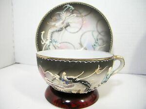 Vintage Norcrest Dragon Ware Tea Cup and Saucer Geisha Girl Lithophane
