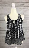 Women's American Eagle Black Printed Bohemian Peasant Sleeveless Top-Size XS
