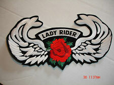 "LADY RIDER - RED ROSE & WINGS EMBROIDERED PATCH 11"" X 6 """
