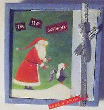 Christmas Cards Box of 16 with Envelopes Santa Claus and Penguins Nib