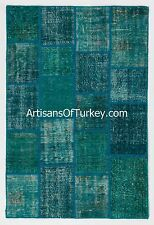Teal Color Patchwork Rug, Handmade from Overdyed Vintage Turkish Carpets