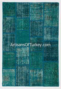 Teal Color Patchwork Rug, Handmade from Overdyed Vintage Turkish Carpets
