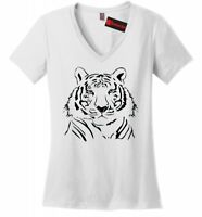 Tiger Face Graphic Tee Animal Lover Tiger Drawing Ladies V-Neck T Shirt Z5