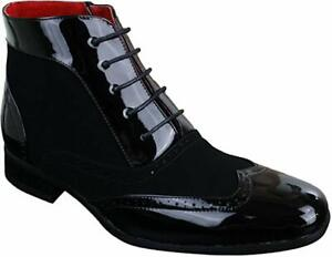 Men's Black Montez Leather Lined Rossellini Lace Up Formal Casual Boots UK 7- 12