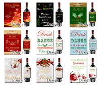 Personalised Christmas Wine Bottle Label Work Secret Santa Gift Friend Teacher