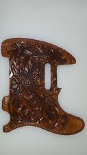 "Leather pick guard Fender Telecaster hand tooled leather ""oak leaf"" antique lace"