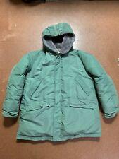 Vintage 70s Comfy Outdoor Men's Size XXL Down Jacket Fur Zip Hood Green Parka
