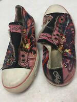 Ed Hardy Women Slip On Sneakers size 6 shoes Tattoo Pink Black Oriental Koi Fish