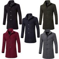 Men's Fashion Winter Wool Trench Coat Warm Outwear Overcoat Casual Long Jacket