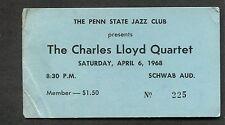 1968 Charles Lloyd Quartet Unused Full Concert Ticket Penn State