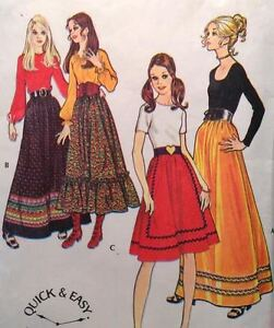 1970s Quick Easy McCall's 2929 Sewing Pattern 4 Styles Skirts Boho Festival Maxi