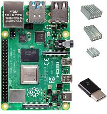 Raspberry Pi 4 with CanaKit Heat Sinks and Micro USB to USB-C Converter 2GB RAM