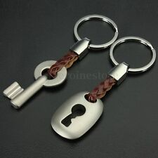1 Pair Creative Lock & Key Couple Keychain Key Chain Ring Lover Valentine's Gift