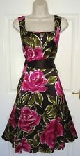LAURA ASHLEY Brown Pink Silk Fit & Flare Evening Cocktail Occasion Dress Size 16