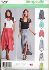 SIMPLICITY SEWING PATTERN 1201 MISSES SZ 6-14 KNIT PULL-ON SKIRTS, SHAPED HEMS