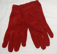 Womens Red Suede Leather Gloves Driving Lined Warm Winter Ladies Large George