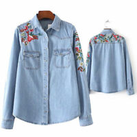 Women Retro Casual Denim Long Sleeve Casual Shirt Tops Blouse Embroidery Jackets