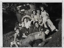 OLD PHOTO GROUP OF TEEN GIRLS TEEN BOYS ONE ABOUT TO GET SPANKING CAR 1930S