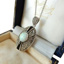 Opal Onyx Marcasite Pendant Necklace Sterling Silver Chain