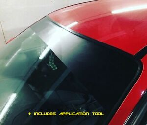 Windscreen Sun Strip MATT BLACK  1500mm x 300mm Universal + APPLICATION TOOL