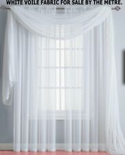 """1METRE VERY WIDE WHITE SHEER VOILE FABRIC 117""""W CURTAIN VALANCE SWAG TABLE DRESS"""