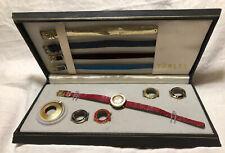 Women's Vintage Turler Heno 17j Watch Fashion Set 5 Bezel 5 Strap Pendant Retro