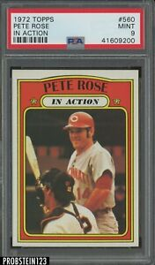 1972 Topps #560 Pete Rose In Action Cincinnati Reds PSA 9 MINT