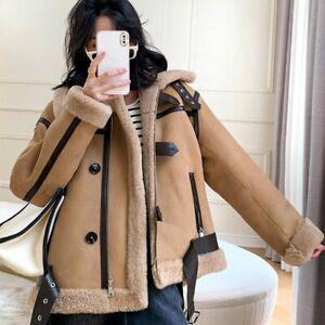 Women's Shearling Coat Sheepskin Leather Coat Winter Warm Wool Jacket 3MH3642L