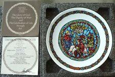"""NOEL VITRAIL """"TIDINGS OF GREAT JOY"""" 8 1/2"""" PLATE W/COA D'ARCEAU-LIMOGES 1980"""