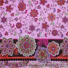 BonEful Fabric BTHY Cotton Flannel Pink Brown Flower Border Stripe Swirl Scroll