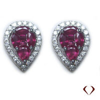 1.50CT Ruby and Diamond Earrings F SI 18K White Gold