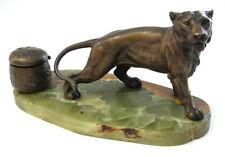 ANTIQUE INKWELL BRONZE LION LIONESS FIGURINE MINIATURE SCULPTURE GREEN MARBLE >>
