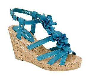 PINKY ~ BLUE OPEN TOE PLATFORM SANDAL WEDGE WITH CORK SIDING ~ SHOES