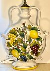 Very large and heavy Vintage Italian moon flask lamp base Majolica Grapes
