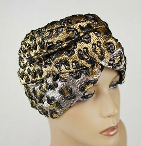 Gucci Gold and Silver Metallic Leopard Print Turban Headband M/57 476538 7060