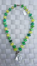 Green & Yellow Colored Vaseline Glass Quartz Pendant Sterling Silver Necklace