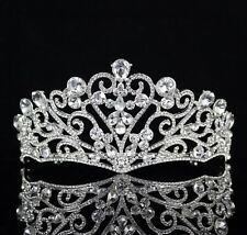 Love Heart Clear Austrian Rhinestone Tiara Crown Wedding Bridal Pageant Prom T60
