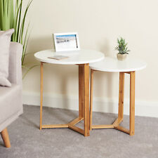 Hartleys Nest of 2 White Coffee Tables Modern Bamboo Wood Scandinavian Furniture