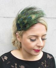 Blue Green Black Peacock Feather Fascinator Headband Races Headpiece 1920s 4803