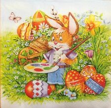 4 X PAPER NAPKINS eggs  EASTER bunny  DECOUPAGE TABLE CRAFTING   W5