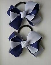 """Girls set 2 navy blue glitter 3/"""" Hair Bow bobbles school"""