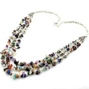 Necklace natural lapis moonstone amethyst multi gemstone beaded handmade jewelry