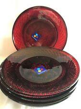 6 Luminarc Arcoroc Ruby Red Glass Salad Dessert PLATES  Antique Pattern NEW
