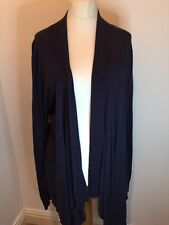 DASH Ladies Long Blue Marl Open Soft Long Sleeve Cardigan Size 20