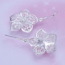 Elegante Mujer Aretes Pendientes  Flores Hueca Plata  Earring Joyería