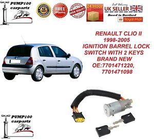 RENAULT CLIO MK2 1998-2005 IGNITION BARREL SWITCH LOCK WITH 2  KEYS