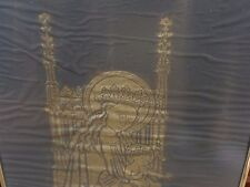 ANTIQUE MOTHER CHILD BRASS RUBBING OUR LADY ABBESS BELGIUM ABBEY OF NIVELLES