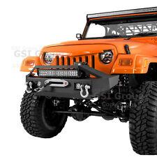 "Stubby Front Bumper+Winch Plate+LED+21"" LED Light bar for 97-06 Jeep Wrangler TJ"