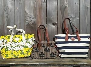 LOT 3 DOONEY BOURKE SHOULDER BAG TOTES SPRING TIME FLORAL/STRIPE/SAIL BOAT
